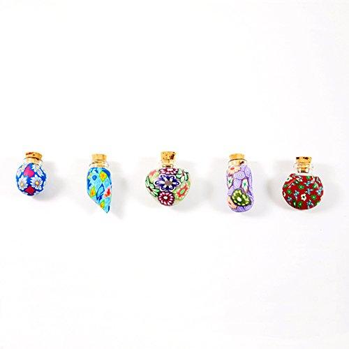 50 piezas x Fimo arcilla del arte del corcho de botella de vidrio aceite Perfume DE MUJER Vial 2 ml, R2