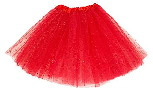 Glitzer Rot Kostüm - Das Kostümland Glitzer Petticoat 40 cm - Rot
