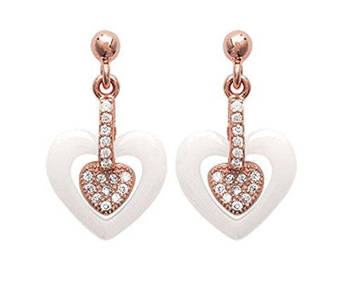 Orecchini a forma di cuore placcato oro, zirconi e ceramica, colore: bianco