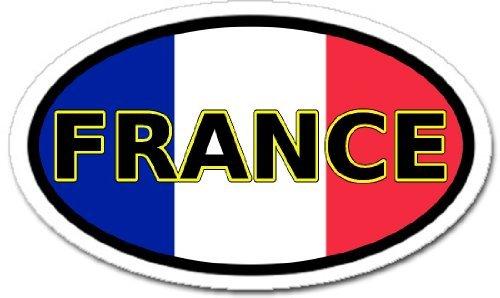 Frankreich und Französisch Flagge Autoaufkleber Aufkleber oval -