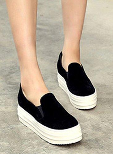 Aisun Femme Confort Plateforme Basse Baskets Noir