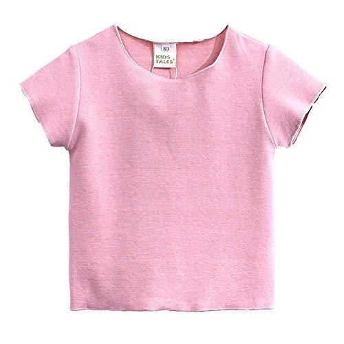 BHYDRY NiñIto Niños Bebé Chico Chica SóLido Camisa De Manga Corta T Tops Ropa Conjuntos(Rosa,80)