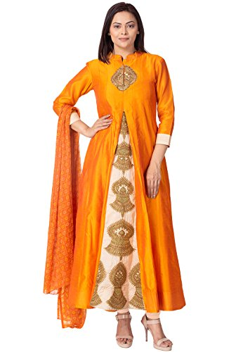 Utsav Fashion Embroidered Bhagalpuri Silk A Line Suit in Orange and Beige