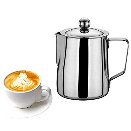 Chihee Jarra para espumar con leche, acero inoxidable 20 oz (600 ml) Jarra para leche con tapa y filtro para máquinas de café espresso, leche para leche, Latte Art, hacer té