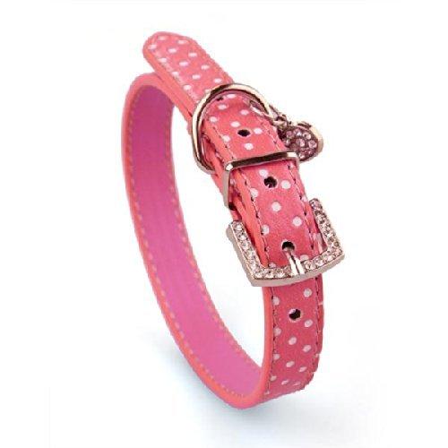 Hunde Halsband Halsb?nder Hundehalsband aus PU Leder pink Gr??e S