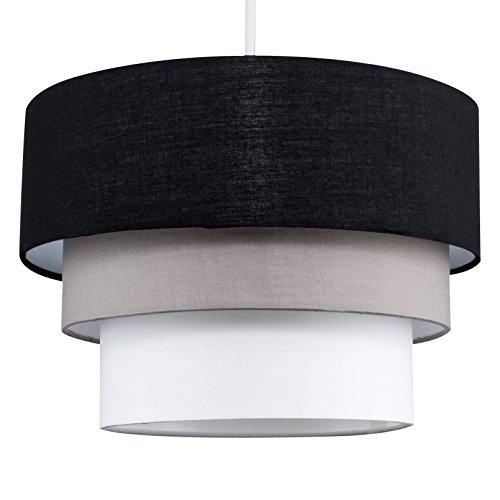 Beautiful Round Modern 3 Tier Black, Grey And Taupe Fabric Ceiling Designer Pendant Lamp Light Shade