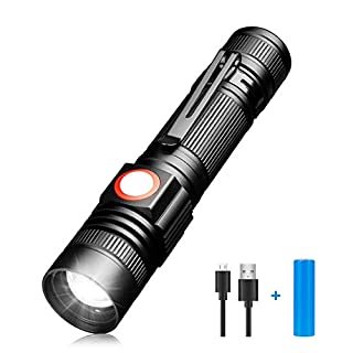 LED Taschenlampe, USB Aufladbar Taschenlampen SuperHell LED Wiederaufladbare Handlampe, wasserdichte Flashlight für Outdoor Aktivitäten wie Camping, Wandern oder Angeln (inklusive 18650 Batterie)