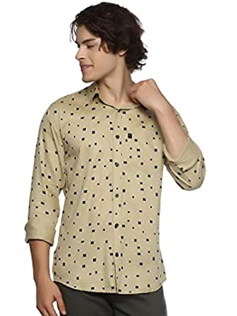 LEVIZO 100% Cotton Casual Shirt Full Sleeves for Men Sand Size L