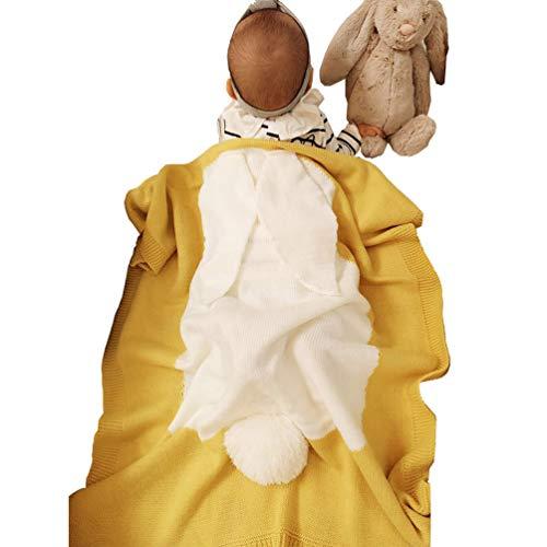 OKSakady Betten Gestrickt Süß Hase Baby Decke Ultra weich Leicht Grau Bettwäsche Decke für Krippen und Kinderwagen (43x28 Zoll) (Bettwäsche Grau Krippe Gelb)