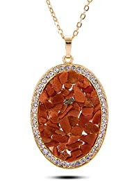 Celena Cole Jewellery By YouBella : Designer Crystal Pendant Necklace For Girls And Women (Red)