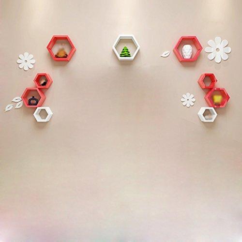 Étagère murale Rouge Blanc Boîte hexagonale créative