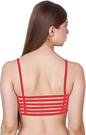 FILBA Women's Cotton 6 Straps Padded Bralette (Red_Free Size)