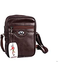 Men Traveler Sling And Cross-Body Messenger Bag Or Mobile Pouch - Premium Quality And Spacious (Leather Sling...