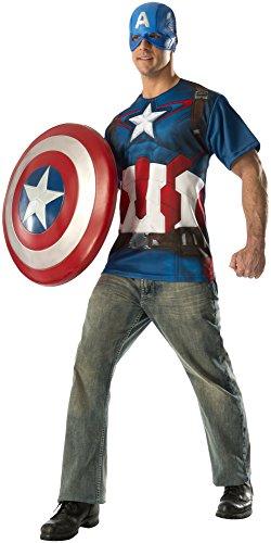 T-Shirt und Maske für Erwachsene aus Captain America Teil (Für Captain America Herren Kostüm)