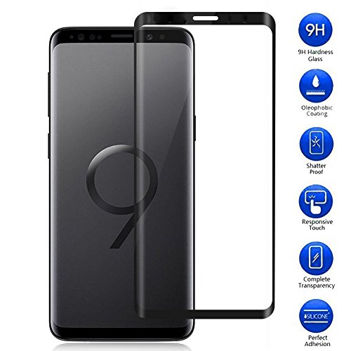 Samsung Galaxy S9 Plus Screen Protector, Vicstar Full Coverage Premium Tempered Glass Effectively Resists Scratches 9H Hardness Bubble-Free for Samsung Galaxy S9 Plus - Black