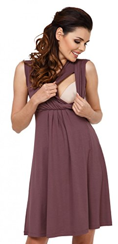 *Zeta Ville – Damen Still Kleid Diskretes Stillen Skaterkleid Schwangere – 808c (Cappuccino, EU 46, 3XL)*
