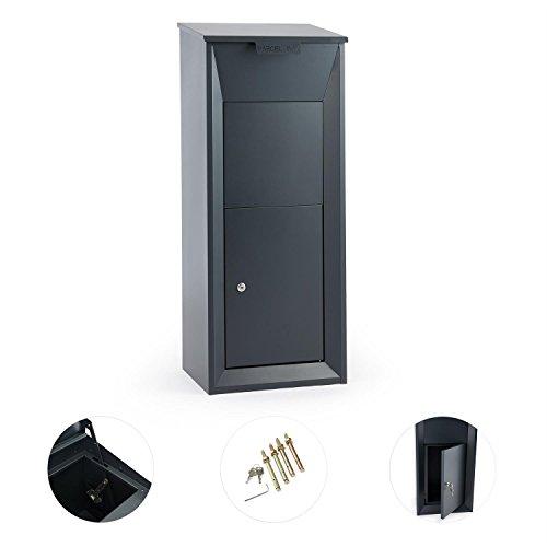 Waldbeck Postbutler • Paketbox • Paketpostkasten • Standbriefkasten • Tür mit Dämpfer und 3-Punkt-Schloss • Bodenverankerung • für Pakete bis 33x19x30cm • dunkelgrau - 2