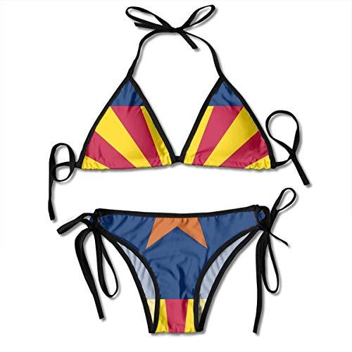 Sexy Triangle Bathing Two Pieces Arizona USA State Flag.png Women's Girl Tie Side Bottom Triangle Printing Bikini Set Badeanzüge Beachwear for Beach Women -