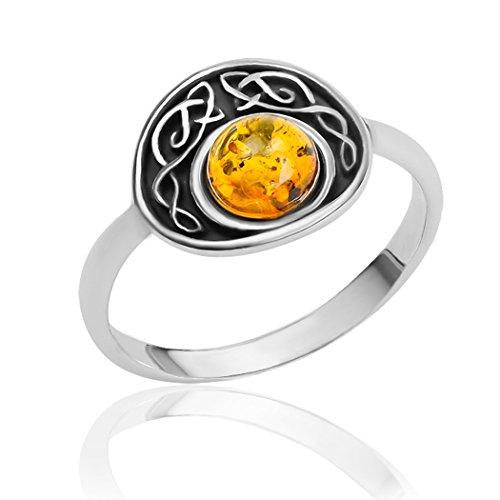 Grande anello ovale, argento sterling e ambra, Argento, 54 (17.2), colore: Yellow, cod. 33750r-7