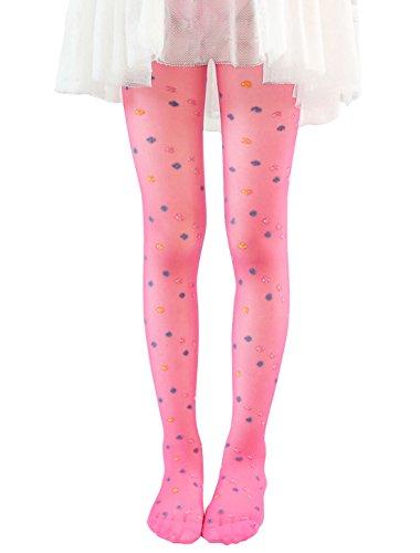 sourcingmap Mädchen Semi Durchsichtig Vierblättriges Kleeblatt Muster mit Fuß Strumpfhose - Synthetisch, Hot Pink-2, 5% elasthan 95% polyester, Mädchen, 4-6X (Socken Rosa Hot Knie-hohe)
