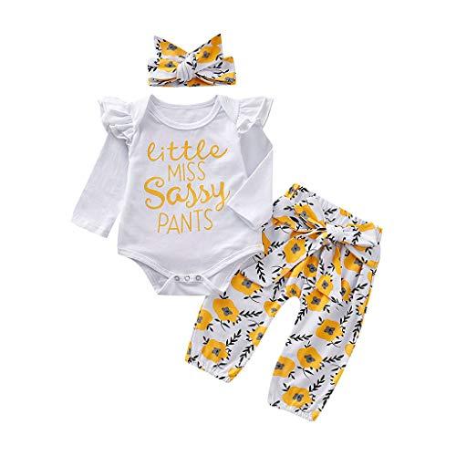 Cuteelf Mädchen Anzug Brief druckt Einteilige Kleidung Baby Langarm Brief drucken Einteilige Harong Tasche Furz Kleidung + Blumenhosen + Haarband dreiteiligen Anzug