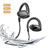 Bluetooth Kopfhörer kabellos Sport,8-10 Stunden Spielzeit, Rich Bass, IPX7 Wasserdicht Stereo Wireless in Ear Ohrhörer Sportkopfhörer mit 16G Speicher MP3