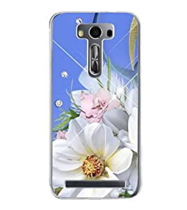 PrintVisa Designer Back Case Cover for Asus Zenfone Selfie ZD551KL (Pink and Blue Flowers With Blue Background)