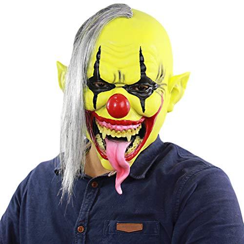 Xinwcanga Gesicht Horror Clown Maske Karneval & Halloween Kostüm für Erwachsene Cosplay Kostüm Kleidung Replik Zubehör (Gelb, One size)