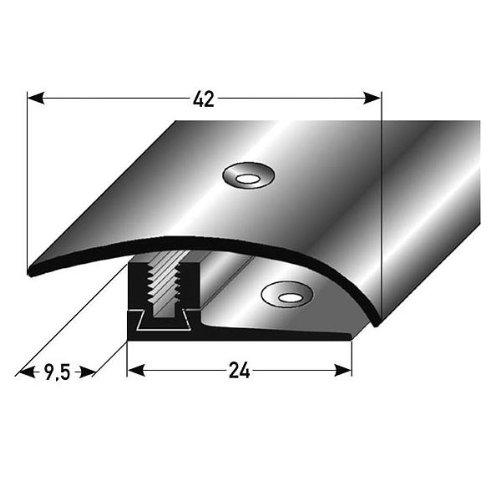 Ausgleichsprofil / Anpassungsprofil Laminat, Höhe 7 - 17 mm, 42 mm breit, 3-teilig, Edelstahl, gebohrt, Flex -