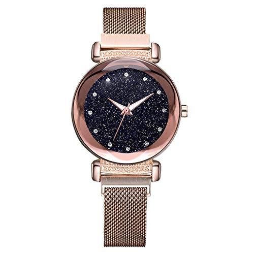 YEARNLY Damen Starry Sky Convex Glas Quarznetz mit Magnetschnalle Mädchenuhr Lila, Blau, Kaffee, Rotgold, Schwarz (Rose Gold2) (Mk Rose Gold-männer Uhren)