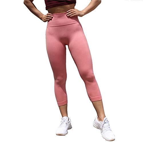 Epinki Damen Sporthose Nylon Spandex Yogahose Schlank Lauf Leggings Hohe elastische Strumpfhose Für Gym Yoga Laufen Fitness - Rosa -
