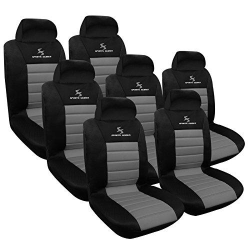 WOLTU AS7255-7 Set Completo di Coprisedili Auto 7 Posti Seat Cover per Macchina Tessuto Poliestere Nero/Grigio