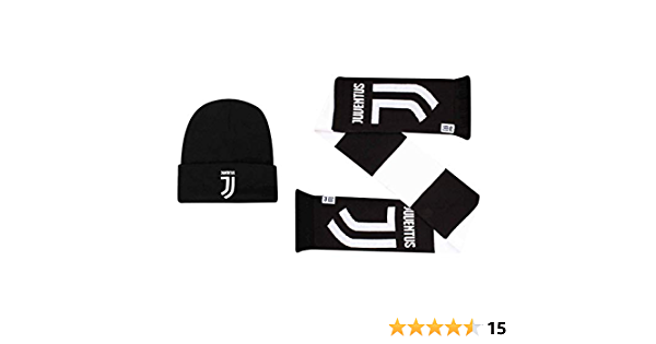 Official FC Juventus Serie A Football Winter Beanie Hat /& Scarf Set 100/% Acrylic