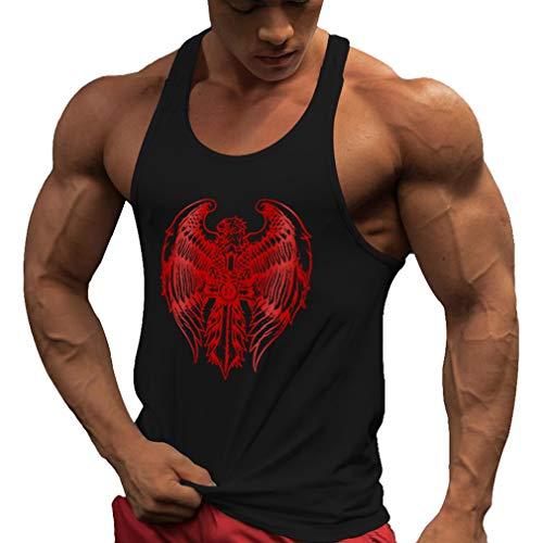 WEIMEITE Fitness Tank Top Herren Stringer Bodybuilding Muskel Shirt Workout Weste Turnhallen Unterhemd Schwarz-Rot M