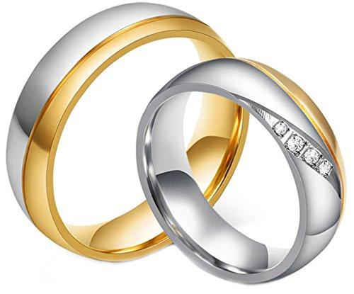 AmDxD Juwelier Damen Ringe aus 18K Vergoldet Zirkonia Trauringe Freundschaftsringe Partnerringe Größe 60 (19.1)