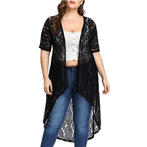 TUDUZ Damen 3/4 Ärmel Kimono Cardigan Boho Chiffon Lose Spitze Schal Top Strand Bikini Cover Up Bluse Oversize Beachwear Sommerkleid Shirt Mantel -