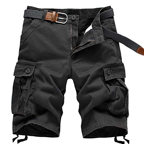 ELETOP Herren Shorts Cargo Sommer Mode Shorts Tarnung Lounge Lässige Shorts Kariertes, Rein Grau, Gr.- XXL/ Etikettengröße- 42
