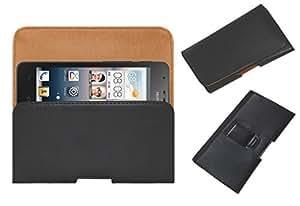 Acm Belt Holster Leather Case For Huawei Ascend G510 Mobile Cover Holder Clip Magnetic Closure Black