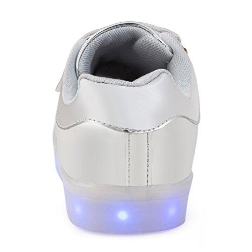 SAGUARO® Jungen Mädchen Turnschuhe USB Lade Flashing Schuhe Kinder LED leuchtende Schuhe mit farbigen Schnürsenkel Silber