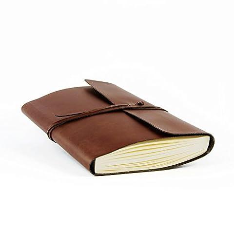 Vietri A5 mittelgroßes Notizbuch aus recyceltem Leder, Handgearbeitet in klassischem Italienischem Stil, Tagebuch A5 (15x21 cm) Braun - Mano Crafts