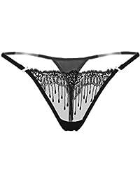 GOTTING de las mujeres transparentes del bordado de las bragas de cintura baja Tangas G Strings