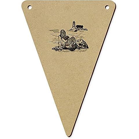 5 x 140mm 'Meerjungfrau Leuchtturm' Wimpel / Banner aus Holz (BN00021286)