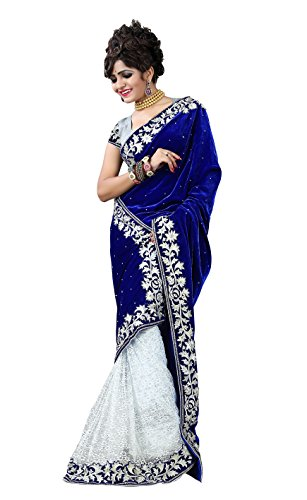 Clickedia Women's Velvet Saree (601 Blue White Velvet sari_Blue and White)
