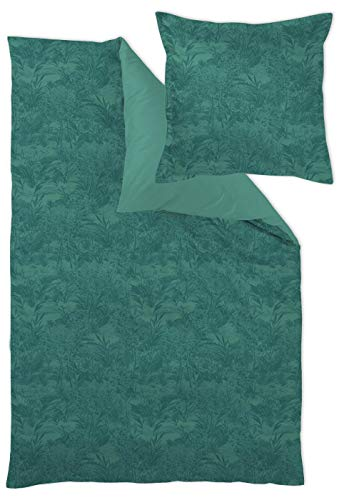 Curt Bauer Mako Brokat Damast Bettwäsche 4 teilig Bettbezug 140 x 200 cm Kopfkissenbezug 70 x 90 cm Calista Evergreen