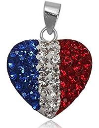 EYS JEWELRY® colgante para señora bandera Francia 20 x 16 mm Cristal plata de ley 925 multicolor con la caja mujer