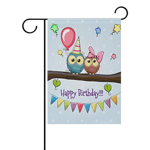 HujuTM Double Sided Lovely Animal Happy Brithday Two Owls on a Branches Polyester Garden Flag Banner 12 x 18 Inch for Outdoor Home Garden Flower Pot Decor