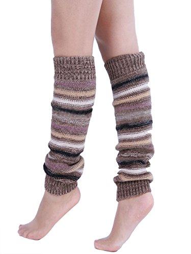 A&Z Super Warme Damen Frauen Beinstulpen Streifen Crochet Stiefel Manschetten Socken Leg Knit Stulpen Warmers Socks Cuffs Knie (khaki) (Knit-streifen-stulpen)