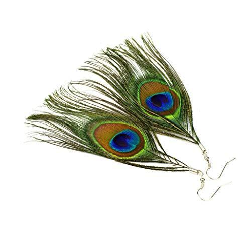 Geilisungren Damen Pfau Feder Ohrringe Vintage Boho Stil Baumeln Eardrop Ohrhänger Valentinstag Geschenk für Frauen und Mädchen (Green)