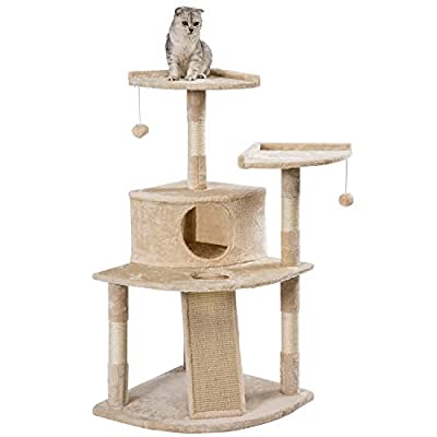 PURLOVE Cat Kitten Tree Cat Scratcher Activity Centre Scratching Post Climbing Tower Tree with Cat Toys Mouse from PURLOVE