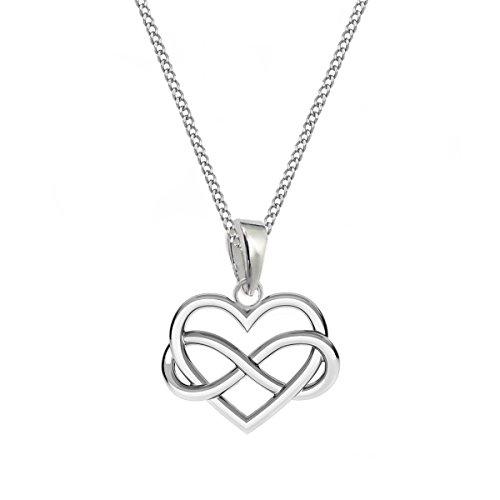 Herz Unendlichkeit Anhänger mit Kette 38-50cm 925 Echt Silber Mädchen Damen Geschenkidee (50)